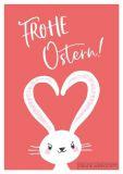 GWBI Frohe Ostern / weißer Hase mit Herzohren - Classic Line Postkarte