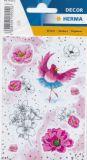 Herma Rosalia - Vogel+ Blumen Glitzer Sticker
