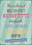 HARTUNG EDITION Manchmal will ich statt Konfetti den Locher werfen WORDS UP Postkarte