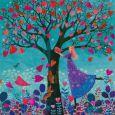GOLLONG Frau mit Baum mit Herzblättern - Mila Marquis Postkarte