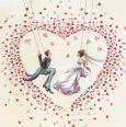GOLLONG Brautpaar schaukelt im Herz aus Herzen - Nina Chen Postkarte