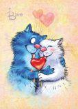 ACARDS Katzenpaar mit Herzlolli - Irina Zeniuk Postkarte