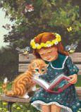 ACARDS Mädchen liest mit Kätzchen auf Bank - Irina Zeniuk Postkarte