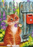ACARDS Katze mit Blume am Briefkasten - Irina Garmashova Postkarte