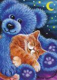 ACARDS Katze schläft auf blauem Teddy - Irina Garmashova Postkarte