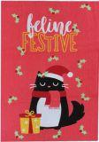 PUCKATOR Festive Feline Cat Geschirrtuch Polycotton
