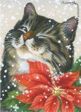 ACARDS Katze mit Weihnachtsstern - Irina Garmashova Postkarte