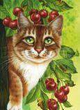 ACARDS Katze mit Kirschen - Irina Garmashova Postkarte