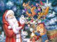 ACARDS Weihnachtsmann und Mädchen mit Rentier - Zorina Baldescu Postkarte