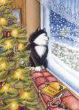 ACARDS Snowing at Christmas / Katze am Fenster - Ema Malyauka Postkarte