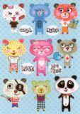 CARTES DART Cool Love Bears Sticker Postkarte