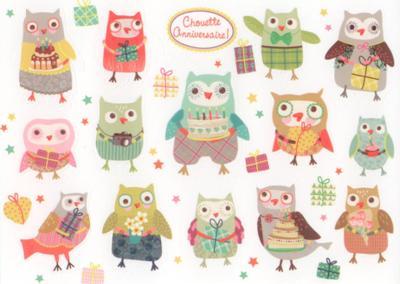 CARTES D'ART Happy Birthday Owls Sticker Postkarte