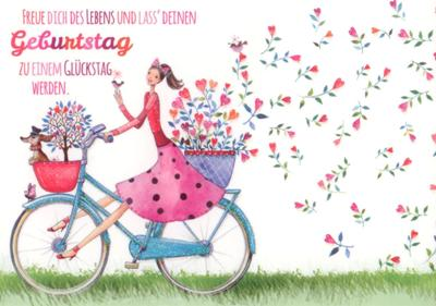 Gollong Zum Geburtstag Frau Mit Fahrrad Mila Marquis Postkarte