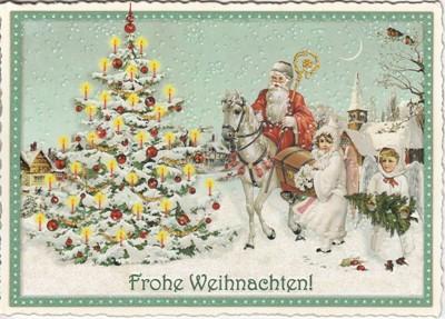 Frohe Weihnachten Pferd.Tausendschön Frohe Weihnachten Nikolaus Auf Pferd Mit Engeln Postkarte