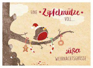 Weihnachtsgrüße Postkarte.Goldbek Zipfelmütze Süßer Weihnachtsgrüße Vogel Auf Ast