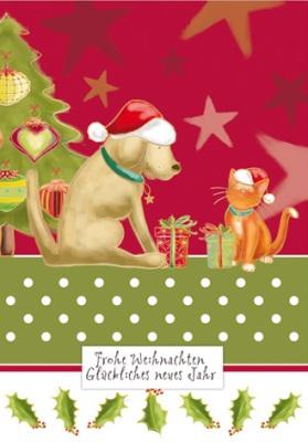 Frohe Weihnachten Katze.Quire Frohe Weihnachten Hund Katze Mit Geschenken Postkarte