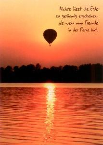 GWBI Freunde in der Ferne   Ballon   Lebenskunst Postkarte