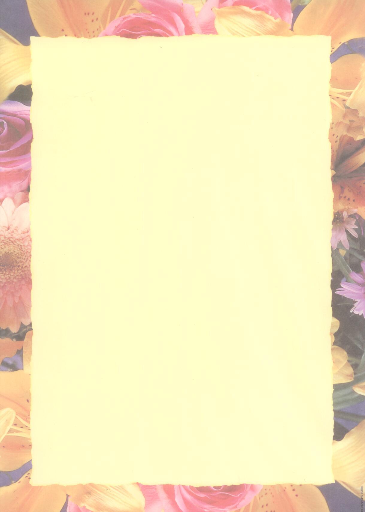 Auer Paper Art Orange Colorful Flower Border Letter Paper A4