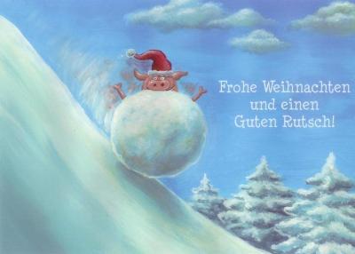 rannenberg frohe weihnachten schwein in schneeball postkarte. Black Bedroom Furniture Sets. Home Design Ideas
