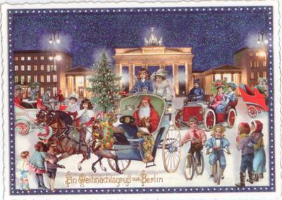 Weihnachtsgrüße Aus Berlin.Tausendschön Weihnachtsgruß Aus Berlin Brandenburger Tor Postcard