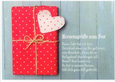 gwbi herzensgr e zum fest rotes geschenk weihnachtsw nsche postkarte
