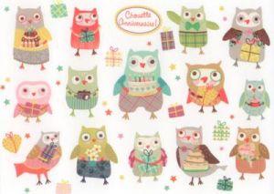 CARTES D'ART Happy Birthday Owls Sticker Postkarte ...