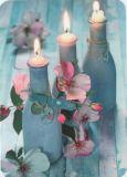 GOLLONG Kerzen in Flaschen und Rosen - Martina Carmosino Postkarte