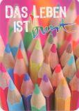 GOLLONG Das Leben ist bunt / Stifte - Martina Carmosino Postkarte