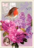 TAUSENDSCHÖN Rotkehlchen mit Rosen + Flieder Postkarte