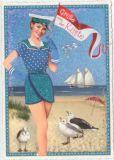 TAUSENDSCHÖN Grüße von der Küste / Frau mit Möwen Postkarte