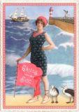 TAUSENDSCHÖN Gruss von der See / Frau mit Möwen vor Leuchtturm Postkarte