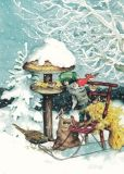 TAURUS-KUNSTKARTEN Zwerg füttert Vögel im Schnee - Inge Löök Postkarte