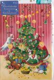 GOLLONG Engel und Nikolaus mit Weihnachtsbaum - Nina Chen Adventskalender Karte