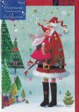 GOLLONG Weihnachtsmann mit Engel - Mila Marquis Adventskalender Karte