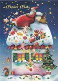 GOLLONG Frohes Fest / Weihnachtsmann schläft auf Dach - Nina Chen Postkarte
