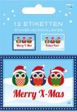 AMAZING IDEAS Little Xmas Owls Etiketten-Set