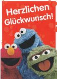 MT Glückwunsch - Elmo, Oskar + Krümelmonster - Sesamstraße Postkarte