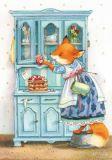 LOVELYCARDS Lizzy backt Kuchen / Fuchs - Evgenia Chistotina Postkarte