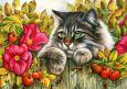 LOVELYCARDS Katze hinter Zaun mit Hagebutten - Irina Garmashova Postkarte