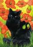 LOVELYCARDS Schwarze Katze sitzt in Mohnblumen - Irina Garmashova Postkarte