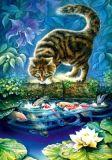 LOVELYCARDS Katze am Teich - Irina Garmashova Postkarte