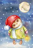 LOVELYCARDS Eule mit Laterne + Mond - Inga Paltser Postkarte