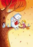 LOVELYCARDS Oia und Yang / Teeparty im Herbst - Irina Smirnova Postkarte