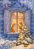 LOVELYCARDS Wintermärchen / Katze hinter Fenster - Galina Egorenkova Postkarte