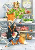 LOVELYCARDS Lizzy auf Stuhl / Fuchs - Evgenia Chistotina Postkarte
