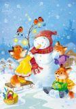 LOVELYCARDS Snowy Friend / Schneemann mit Fuchskindern - Catherine Babok Postkarte