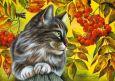 LOVELYCARDS Katze mit Vogelbeeren - Irina Garmashova Postkarte