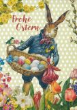 GOLLONG Frohe Ostern - Hase mit Eierkorb  Carola Pabst Postkarte