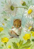 TAURUS-KUNSTKARTEN Maus auf Schaukel - Racey Helps Postkarte