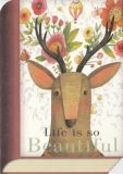 TAURUS-KUNSTKARTEN Life is so beautiful / Hirsch mit Blumen - BookCard Postkarte